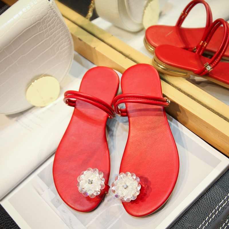 ASILETO sandali di Strass Cuoio Genuino Anello di Punta Sandali Piani delle donne Casual Pistoni della spiaggia di estate calzature quotidiana diapositive A2151