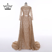 Gold Glitter Long Sleeve Dubai Robe De Soiree Evening Dresses 2017 Real Picture Serene Hill Ruffles