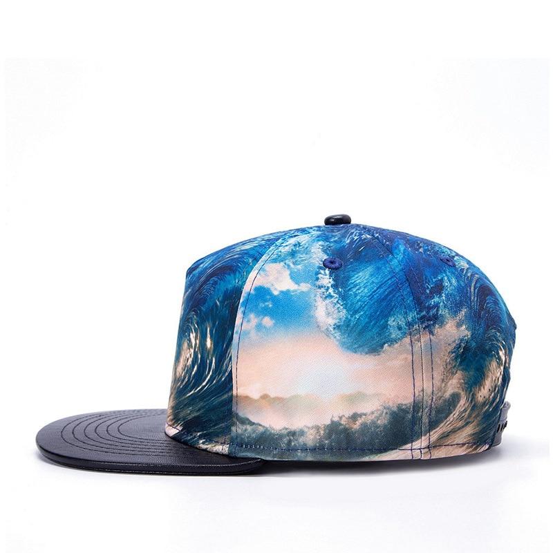 68edd8f1 Brands Unisex 3D Color Printing Blue Ocean Waves Pattern Hat Gorras Planas  Hip Hop Snapback Caps Flat Baseball Cap Visor Hats-in Baseball Caps from  Apparel ...
