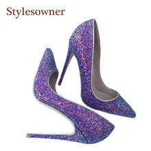 Stylesowner Wedding High Heel Shoes For Female Amazing Purple Bling Bling Sequins Thin Heel Pumps Sapatos Mujer Stunning Shoe