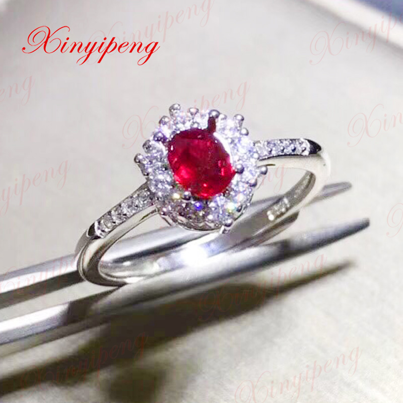 Xin yi peng 925 silver inlaid natural ruby ring, the woman ring engaged a wedding giftXin yi peng 925 silver inlaid natural ruby ring, the woman ring engaged a wedding gift