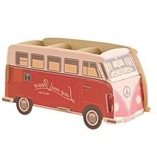 Cube DIY Red Bus Pen holder Desk Organizer Cardboard Stationery Storage Box for Children's gift