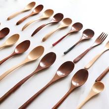 5 шт./лот, Экологичная деревянная ложка меда, кофе, чая, ложки для супа, деревянная кухонная посуда для детей, суп-ковш