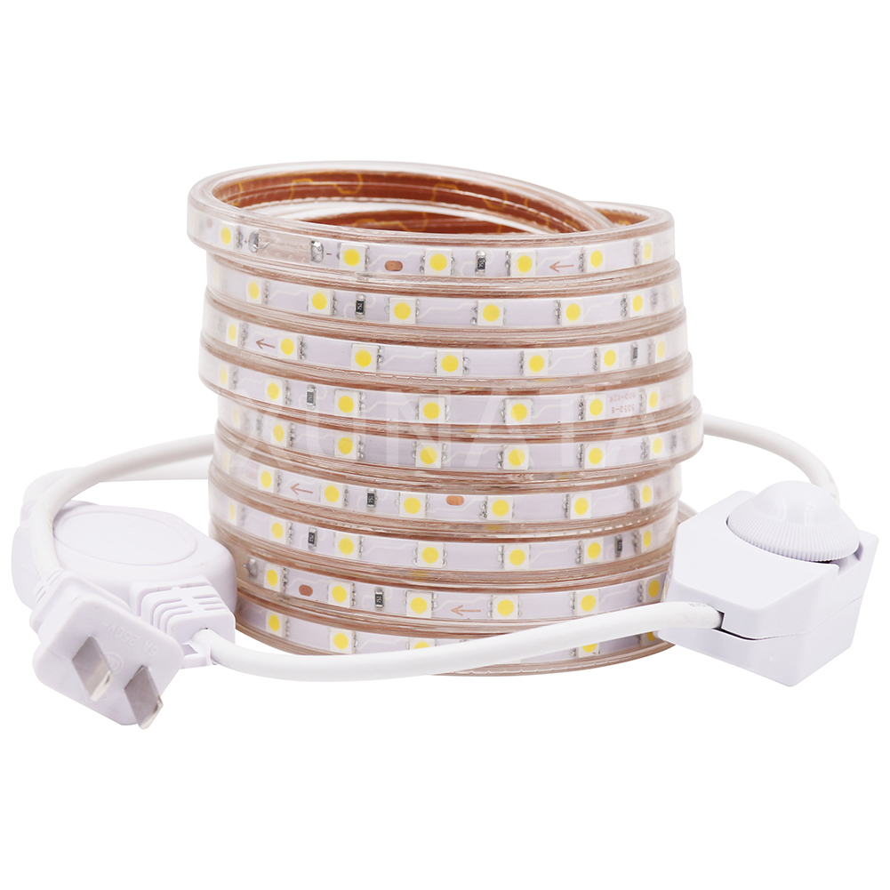 Dimmabl Flexible Strip LED Light 5050 SMD AC 110V 120V 60LEDs/M Waterproof IP67 LED Tape Rope Light Outdoor RGB Lamp