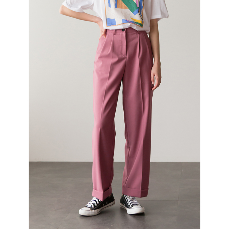 2019 High Quality Women Wide Leg Pants Pink Fashion Loose Casual Straight Trousers Female Dress Pants High Waist Black