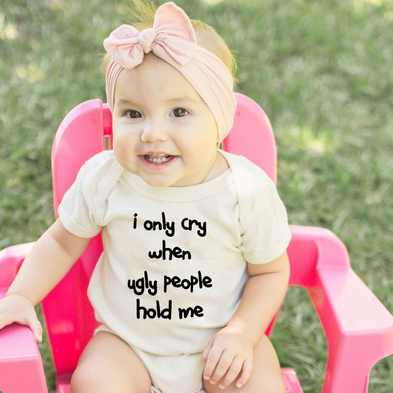 Bodysuit Hold-Me Funny Newborn Baby Ugly-People Infant Cotton Summer Letter Print Only title=