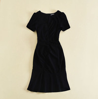 New Arrival 2018 Spring Summer Fashion Women Little Black Dress Short Sleeve Ruched Sexy Mermaid Dresses