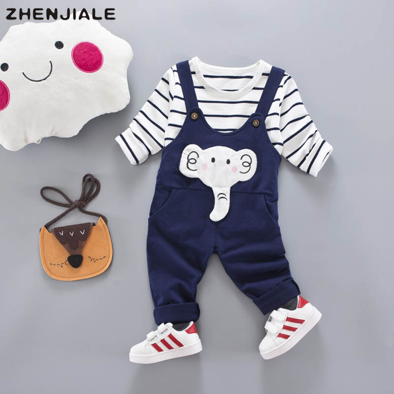 Under 2 years old baby girls baby boys clothing striped long-sleeved shirt+casual overalls Newborn babys clothes sports suit A4