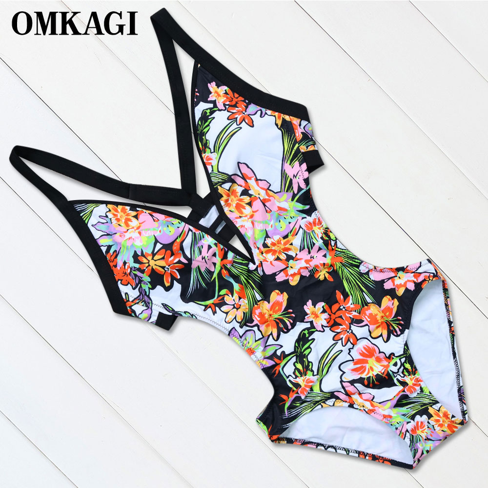 OMKAGI Brand Push Up One Piece Swimsuit Swimwear Women Swimming Bathing Suit Biquini Bodysuits Maillot De Bain Femme Monokini bandage swimsuit black swimwear women 2018 monokini trikini one piece swimsuit strappy bathing swimming suit maillot de bain