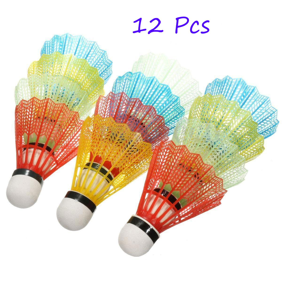 12pcs Colorful Badminton Balls Shuttlecocks Products Sport Training Train Outdoor Supplies Badminton Accessories