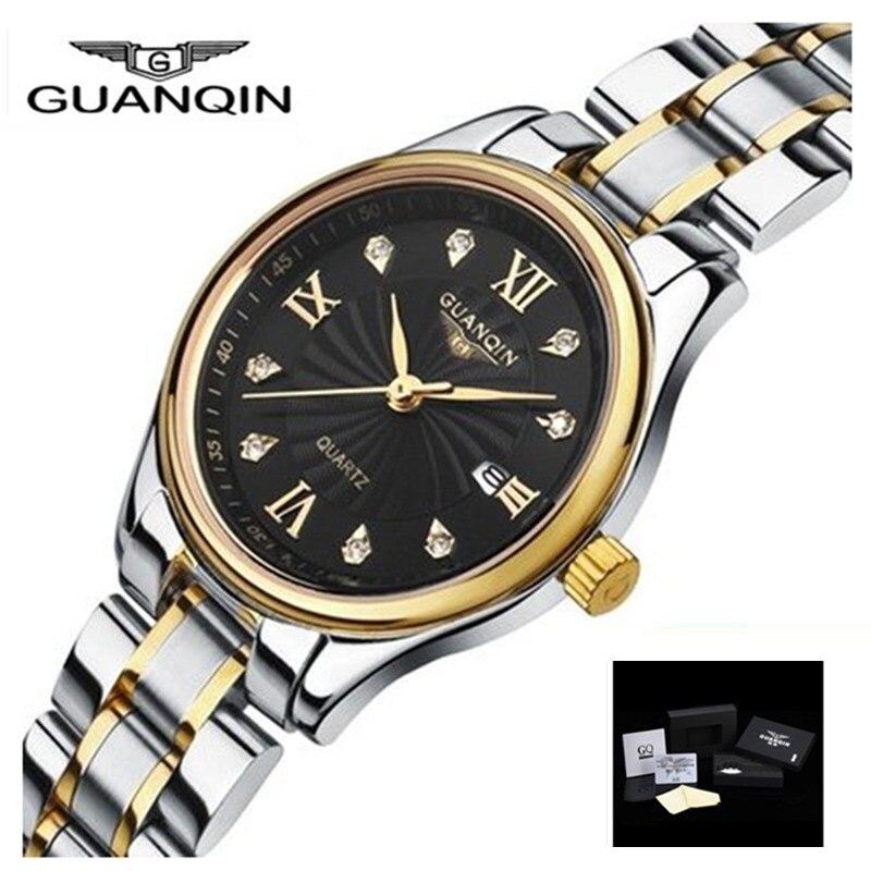 GUANQIN Для женщин часы известного Брендовое Платье Diamond Часы Кварцевые женские роскошные Для женщин сапфир часы Montre Femme