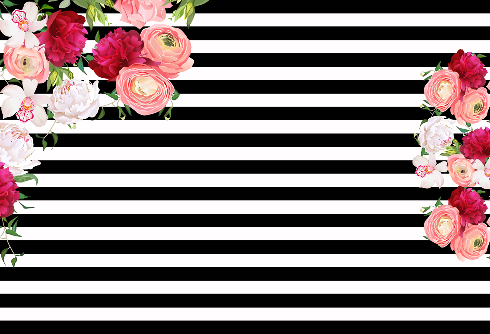 Photography Backdrops Birthday Banner Black And White Stripes Party