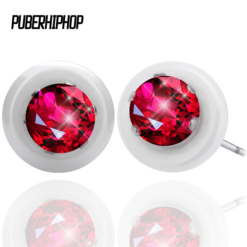 2017 New Fashion Bling Ceramic Earrings With Big AA Red CZ Brincos Silver Plated Stainless Steel Stud Earrings For Engagement