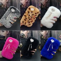 Hot Luxury Real Rabbit Fur Furry Warm Winter Bling Soft Back Phone Case Cover For Iphone