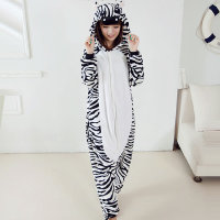 Autumn Autumn Cute Zebra Pajamas Cartoon Animal Onesies For Women Men Flannel Hooded Long Sleeve Homewear