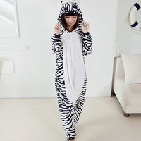 Autumn Autumn Cute Zebra Pajamas Cartoon Animal Onesies For Women Men Flannel Hooded Long Sleeve Homewear