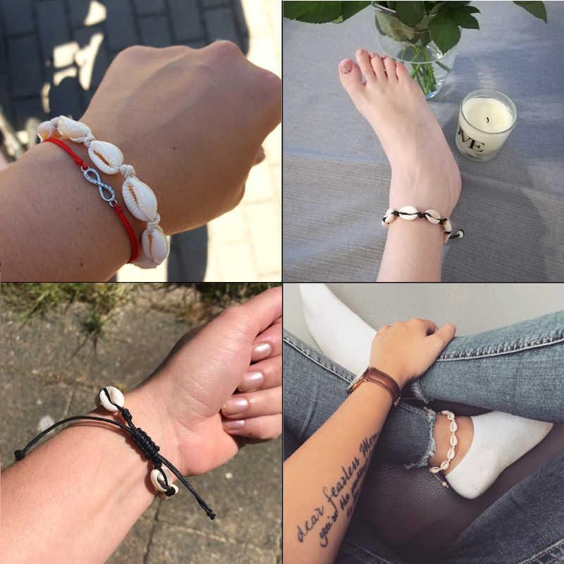Czeski naturalne morskie powłoki bransoletki anklet ręcznie dzianiny liny elastyczne zroszony Pulseira DIY biżuteria plażowa akcesoria letnie kobiety