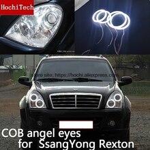 Для Ssangyong Rexton 2006 2007 2008 2009 2010 2011 COB Светодиодный дневной светильник Белый Halo Cob Led Ангельские глазки кольцо ошибок ультра яркий
