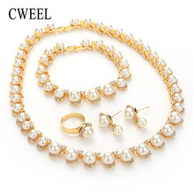 CWEEL Jewelry Set For Women African Beads Jewelry Set Wedding Imitation Pearl Choker Necklace Earrings Bridal Dubai Ethiopian(China)