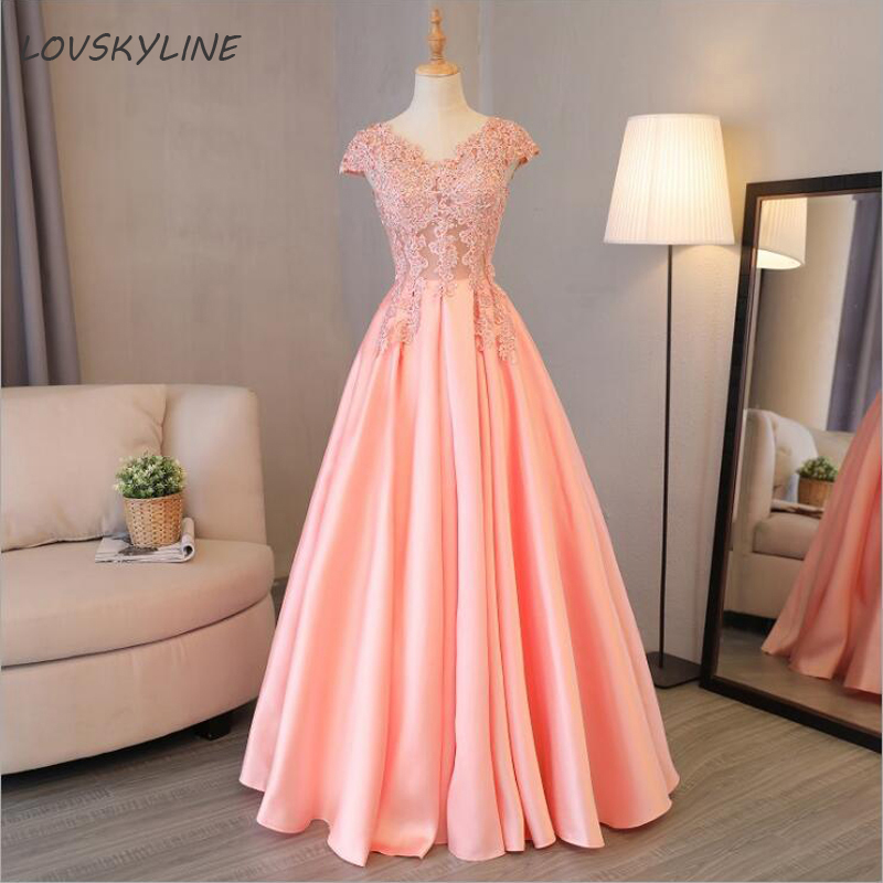 V-Neck Beads Full Rhinestone Bodice Open Back A Line Long   Evening     Dress   Party Elegant Vestido De Festa Fast Shipping Prom Gowns