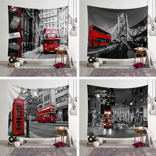 Vintage Black White Tapestry Wall Hanging Sightseeing Bus Street Printed Macrame Hippie Tablecloths Decorative Blanket