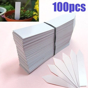 100Pcs White Plastic Plant Labels Orchid Seed Pot Marker Nursery Garden Stake Plant Tag Pots Garden Label Decor Seedling Tray(China)
