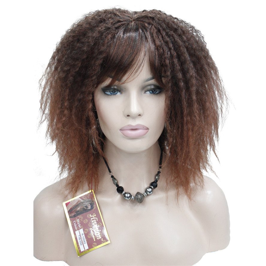 StrongBeauty African American Wigs ombre Hair Kinky Curly Medium Length Black/Auburn Synthetic wig-in Synthetic None-Lace  Wigs from Hair Extensions & Wigs    1