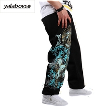 ФОТО yalabovso 2017 autumn  elastic waist hip hop pants fashion printing breathable cotton pants boys dancing loose pants for man z25