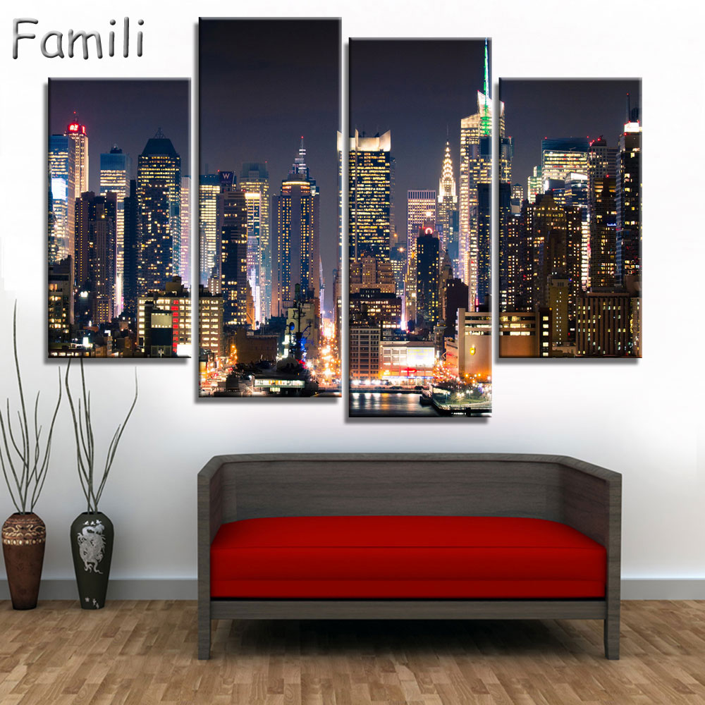 4pcs Modular Poster Board No Framed Canvas Oil Painting