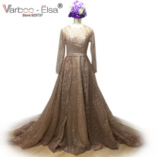 VARBOO_ELSA Sparking Erstaunliche Abendkleider 2017 Benutzerdefinierte Rose Gold Pailletten Abendkleid Lange Saudi Arabisch Langarm Party Kleid