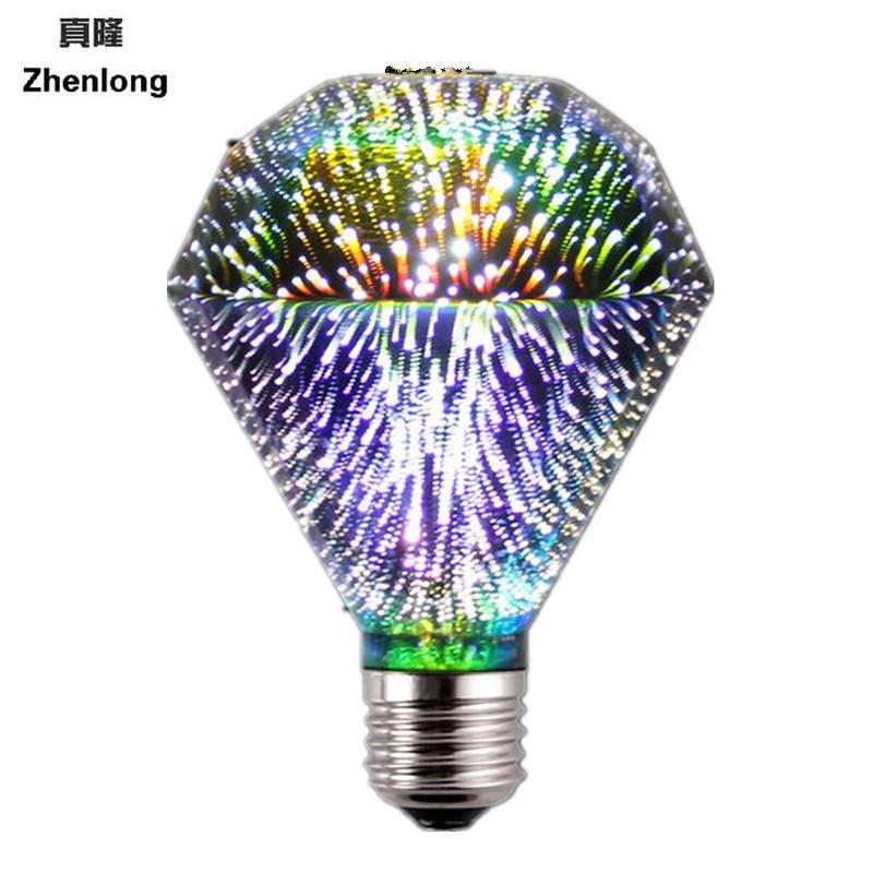 Diamond lights 3D colorful light bulbs firework light e27 bulb led energy saving lamp 3d bulb 3.5w light bulb e27 led smd 2835 lumiparty 6pcs led light bulb 7w daylight white 3000k led energy saving light bulbs