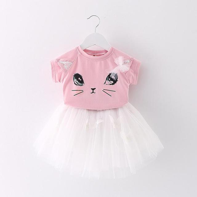 White kitty blouse with gray tutu skirt set