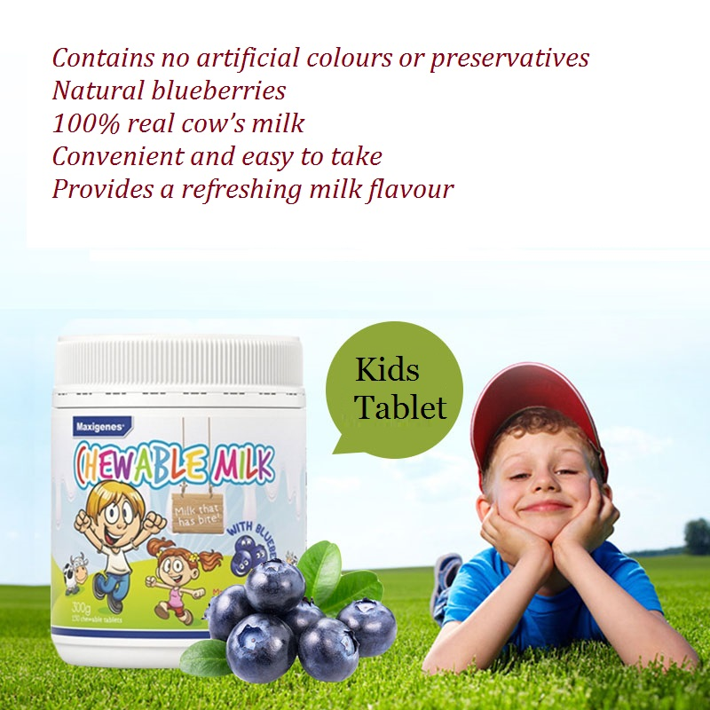 Maxigenes Chewable Milk With Blueberry 150 Tablets made in Australia, ideal healthy snack for kids body nutritional supplement