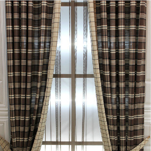 Cotton yarn-dyed plaid striped curtains Busha released coffee color bedroom, balcony curtains custom cortina Drap