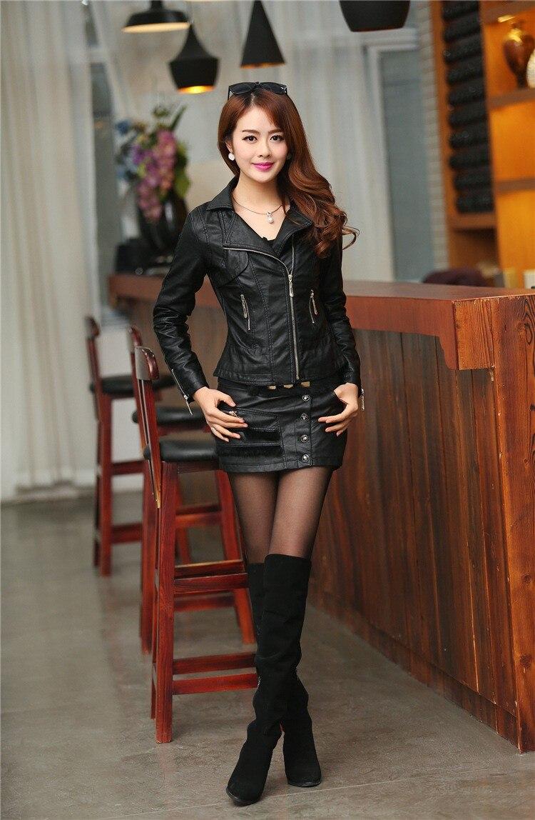 Высокое качество осень зима Pu куртки Новая мода с отворотом женская кожаная куртка размера плюс Jaqueta Couro S-XXXXL пальто A0305
