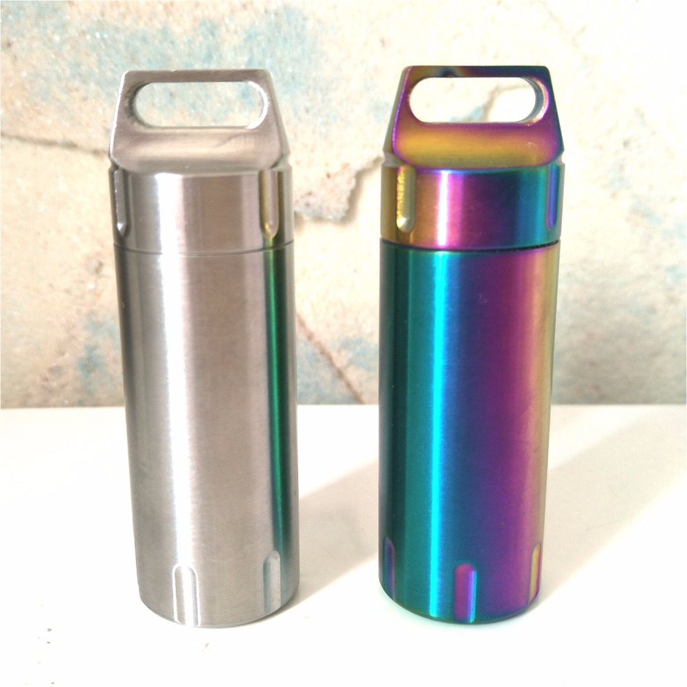 EDC Stainless Steel Waterproof Bottle Mini Portable Keychain Sealed Cans Old People First Aid Kit Outdoor Products