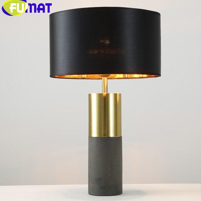 Moderne Mode Tischlampe Für Schlafzimmer Nacht Schwarz Lampenschirm  Tischleuchte Wohnkultur Wohnzimmer Metall Zement Tischlampen H62cm