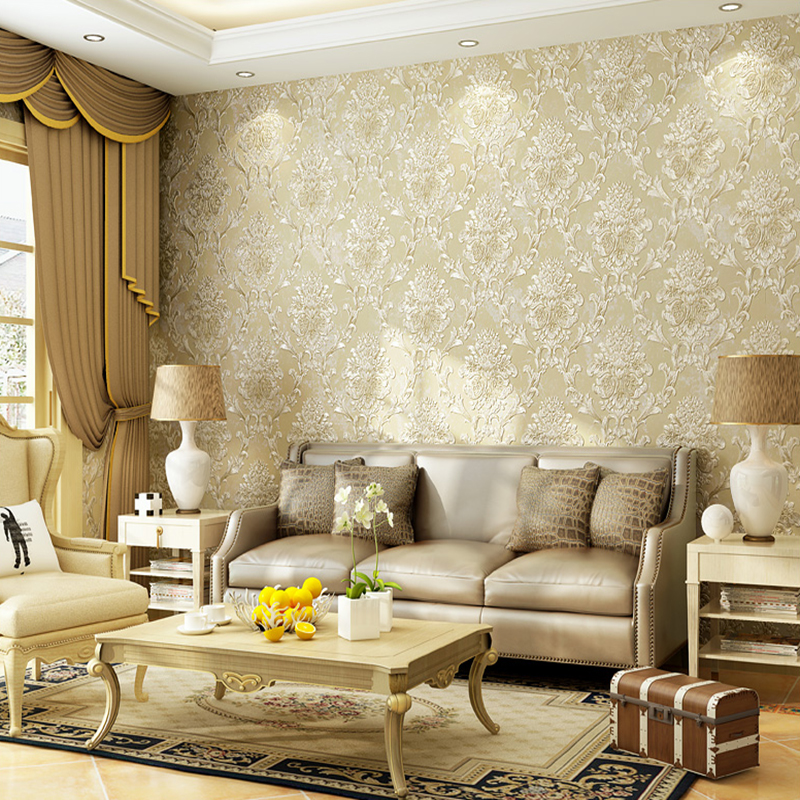 European Style Non Woven Fabric Wallpaper Wall Covering Roll Home Decor 3D Stereo Embossed Damask Living Room Bedroom Paper In Wallpapers From