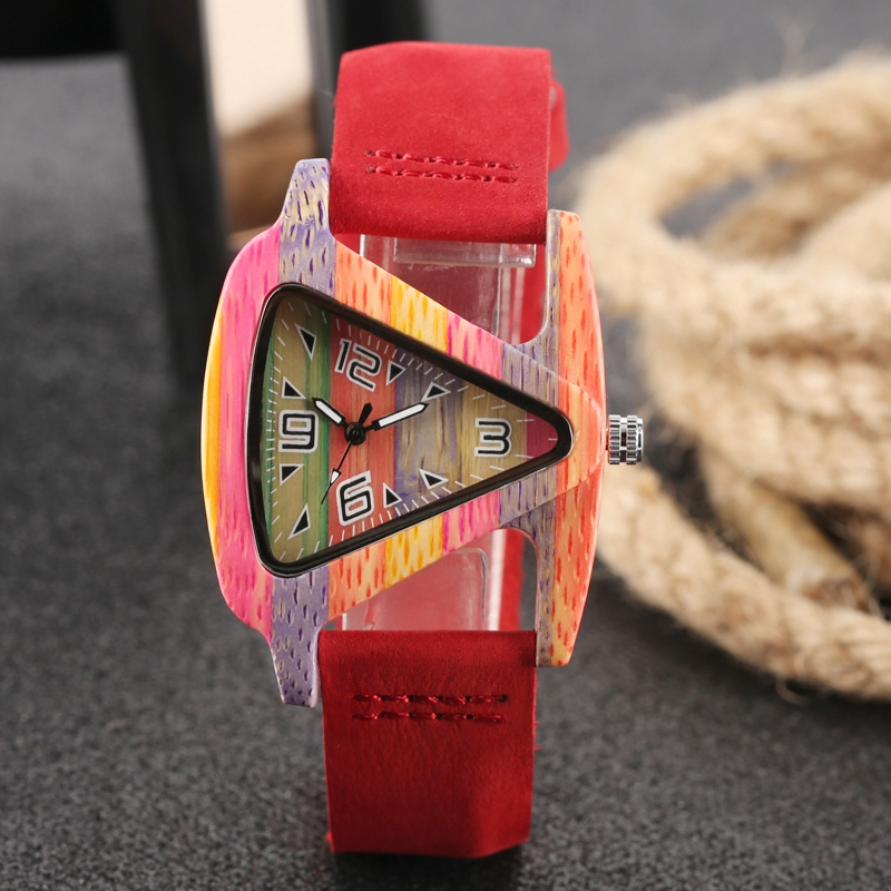 Unique Colorful Wood Watch Creative Triangle Shape Dial Hour Clock Women Quartz Leather Bracelet Watch Women's Wrist Reloj Mujer HTB1aftmCmtYBeNjSspaq6yOOFXaL