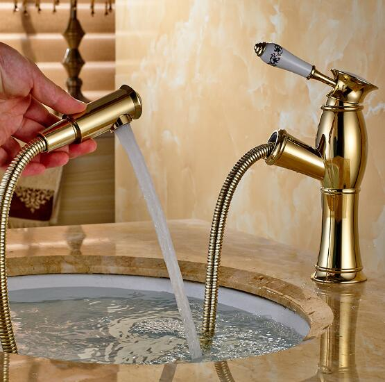 ФОТО Gold Copper Basin sink Faucet Pull Out spray spout Hot & Cold Water Tap brass bathroom basin mixer luxury water tap