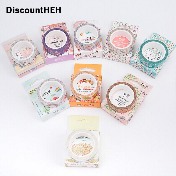 2018 Cute Lotkawaii Flower food animals Decorative Washi Tape DIY Scrapbooking Masking Tape School Office Supply colorful gilding hot silver alice totoro decorative washi tape diy scrapbooking masking craft tape school office supply