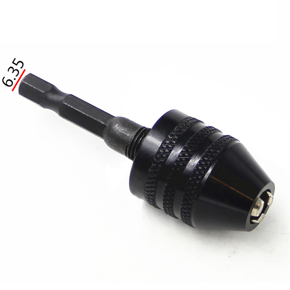 6.35mm Hex Shank Keyless Twist Drill Bit Chuck 0.3-6.5mm Multifunction Quick Change Screwdriver Impact Driver