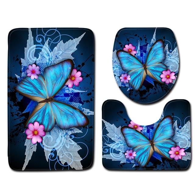 Blue Butterfly Pattern Bagno Mat Set 3 pz Anti Tappetino Slittamento e Servizi I