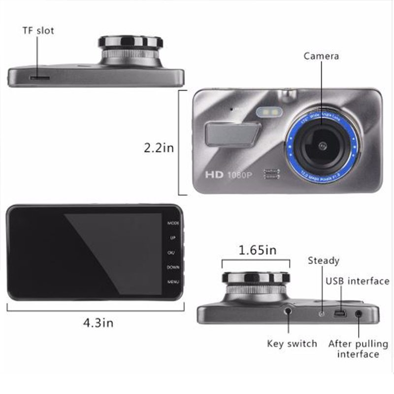 Dash Cam New Dual Lens Car DVR Camera Full HD 1080P 4 IPS Front+Rear Blue Mirror Night Vision Video Recorder Parking Monitor