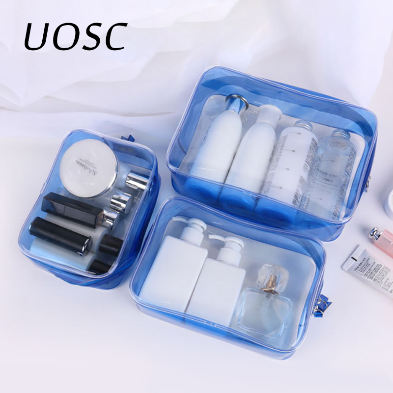 UOSC Travel Clear Makeup Bag Organizer Transparent PVC Beautician Cosmetic Bags  Beauty Toiletry Bag Make Up Pouch Wash Bags