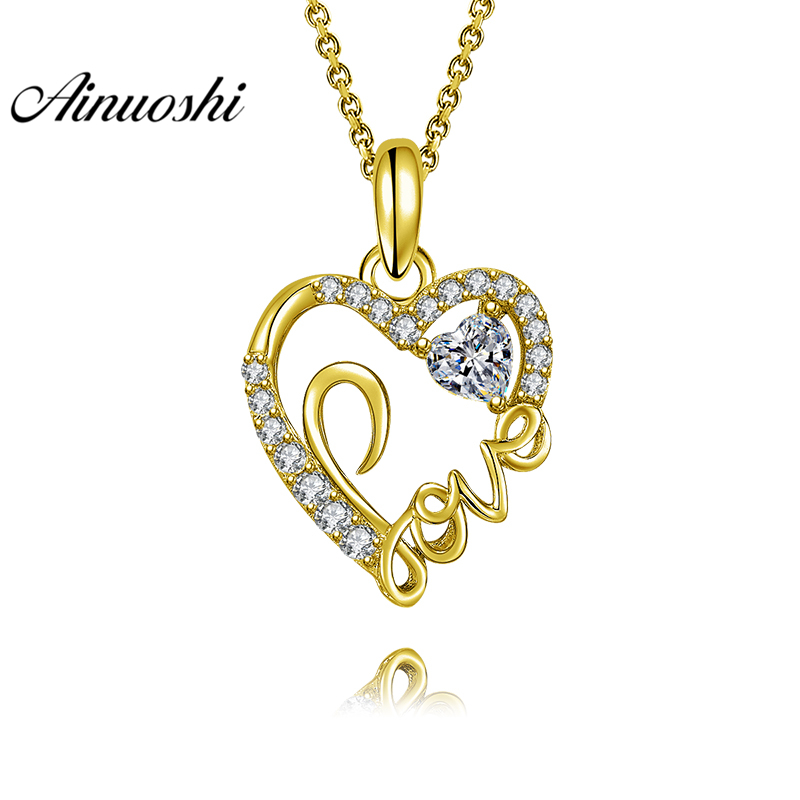 AINUOSHI 10K Solid Yellow Gold Pendant LOVE Heart Pendant SONA Diamond Women Men Lovers Jewelry LOVE Letters Separate Pendant graceful solid color letters love shape necklace for women