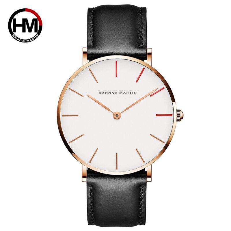 HANNAH MARTIN Watches Luxury Brand Men Simple Quartz Watch Leather Strap Band Unisex Watch Wrist Ladys Casual Clock Montre Femme