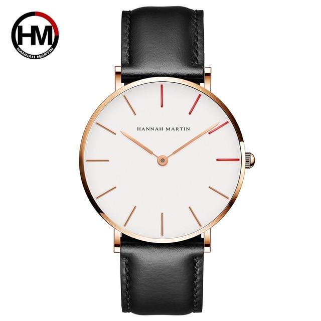 HANNAH Martin часы Элитный бренд для мужчин простой кварцевые часы кожаный полосатый ремешок унисекс наручные женские повседневное Часы Montre Femme