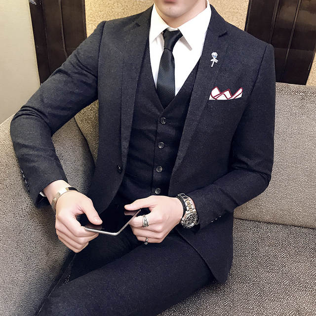 20211b2d96f Online Shop Designers Wool Suits 3 Piece Suit Men Black Slim Vingtage Suit  Wedding Dress Business Acostume Homme Vestito Uomo Smoking