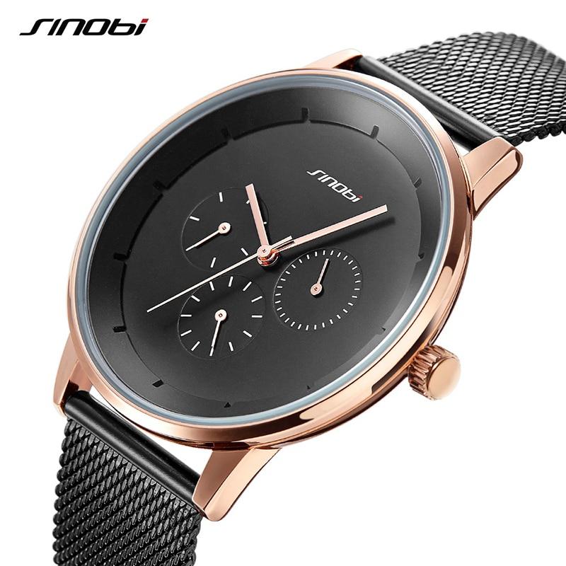SINOBI Mens Watches Top Brand Luxury Quartz Watch Men Luxury Business Alloy Slim Mens Watches 2018 Mesh Strap Relogio Masculino